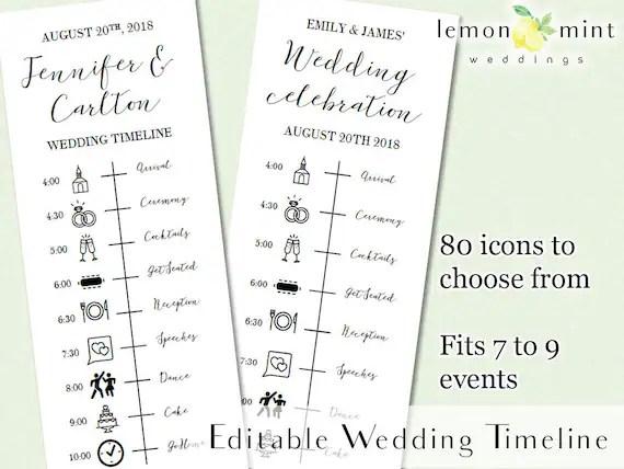 Printable wedding timeline with icons Editable wedding Etsy