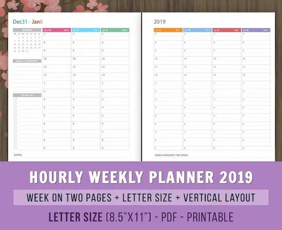 2019 Hourly Weekly Planner Inserts Printables Weekly Agenda Etsy
