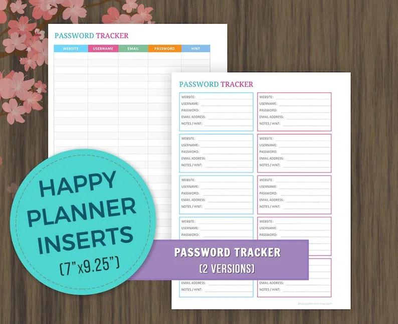 Happy Planner Inserts Password Tracker Printable Password Etsy