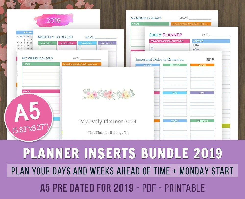 A5 Planner 2019 Inserts bundle Daily Weekly Planner Monthly Etsy