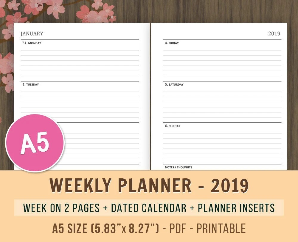 A5 Weekly Planner 2019 Week on 2 Pages WO2P 2019 Weekly Etsy