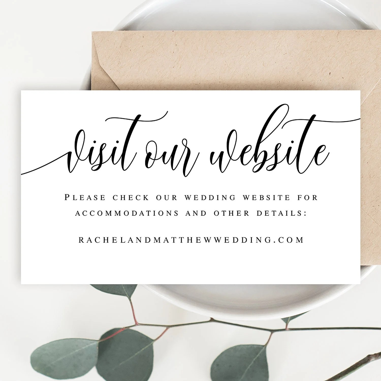 Visit our website card template Wedding website insert cards Etsy