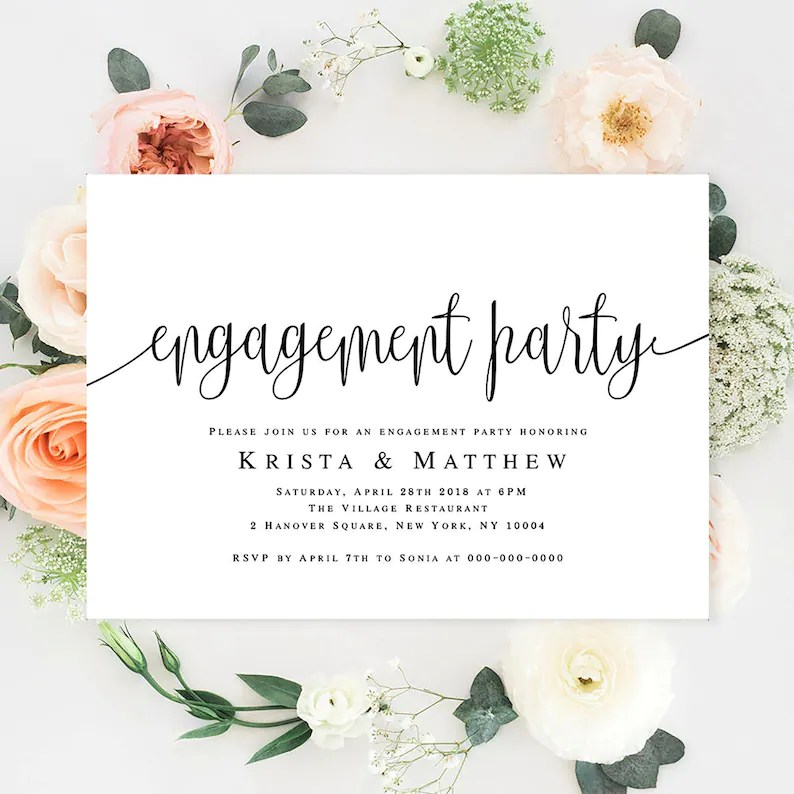 Engagement templates Engagement party invitation printable Etsy