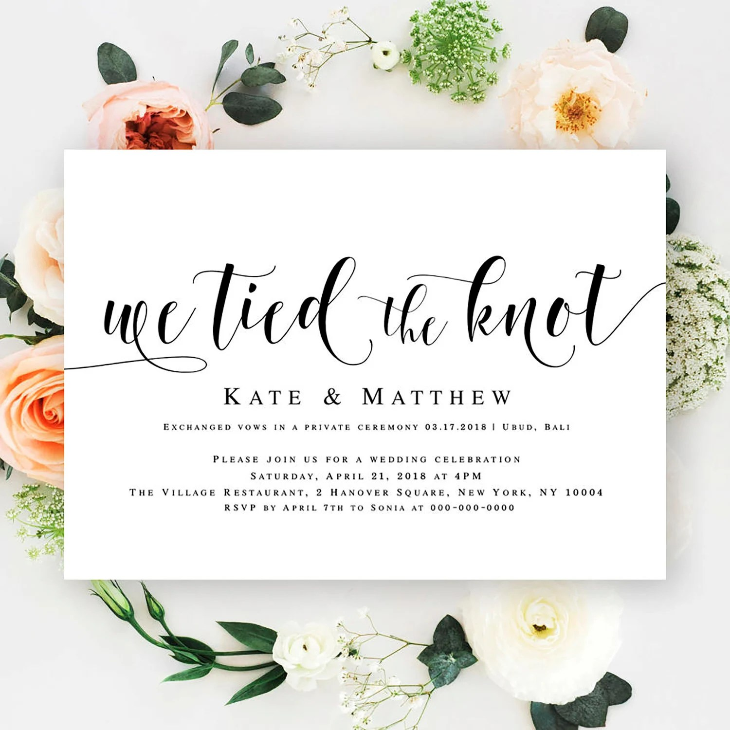 We tied the knot invitations Editable wedding invitation Post Etsy