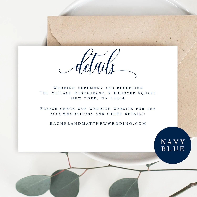 Wedding details card template Wedding details insert Editable Etsy