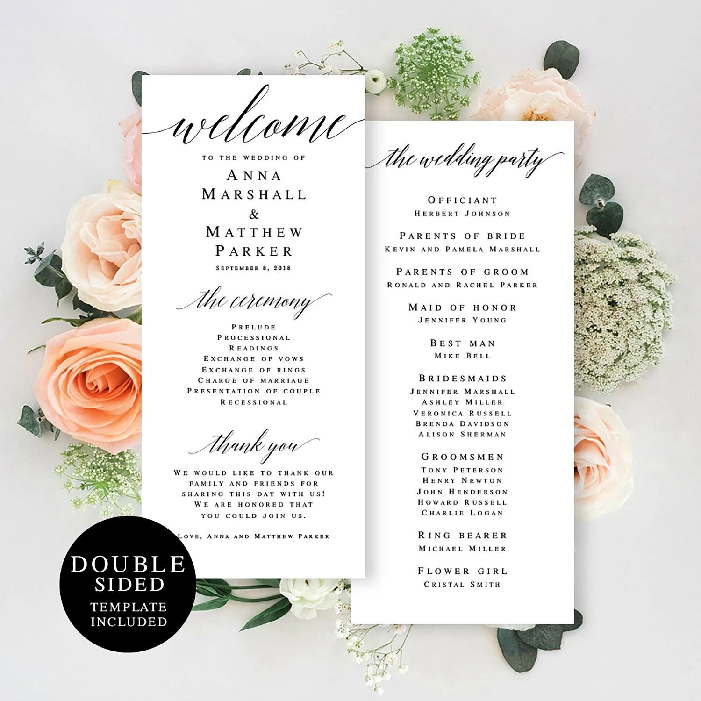 Elegant wedding program template Programs rustic Printable Etsy