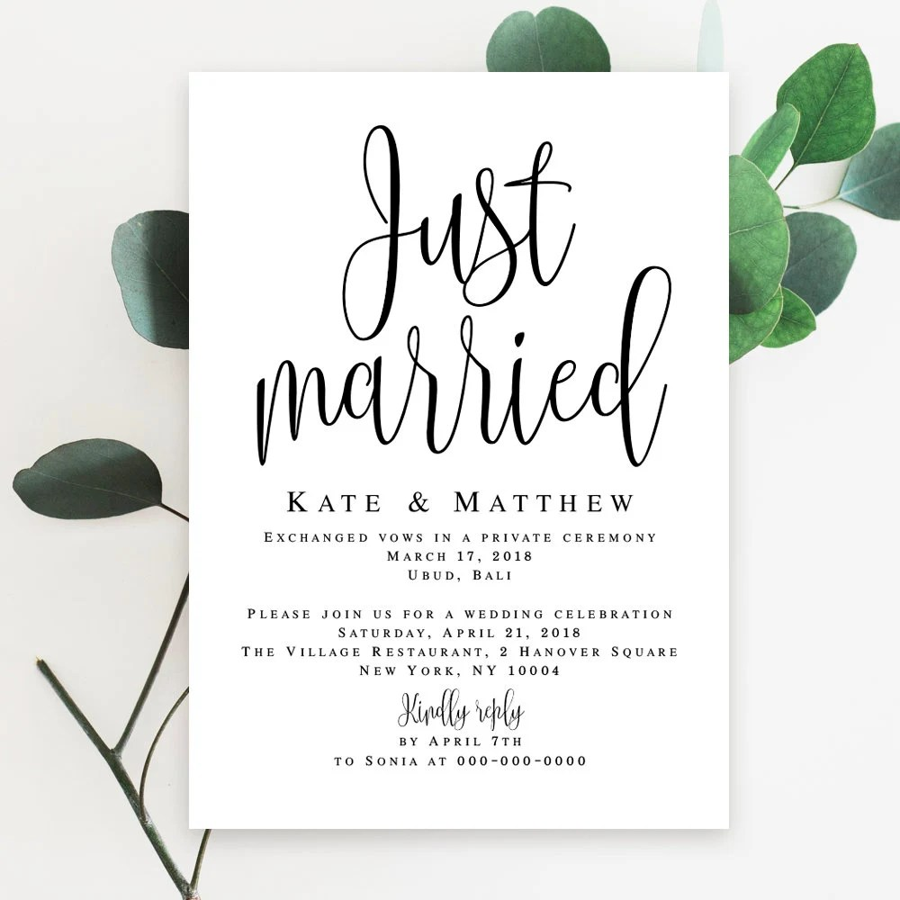 Elopement invitation template download Wedding template Elopement