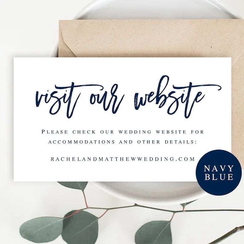 Visit our website card template Wedding website insert cards Etsy