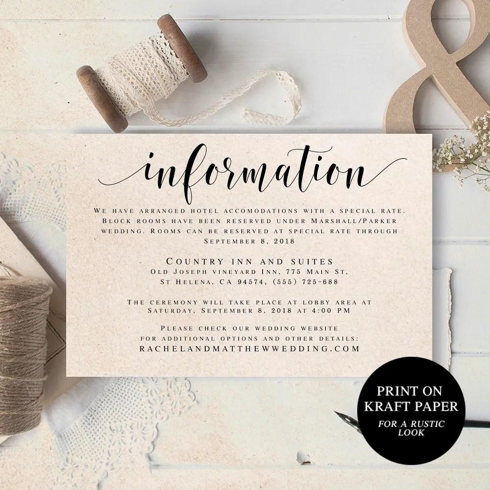 Wedding information template Information card wedding Information