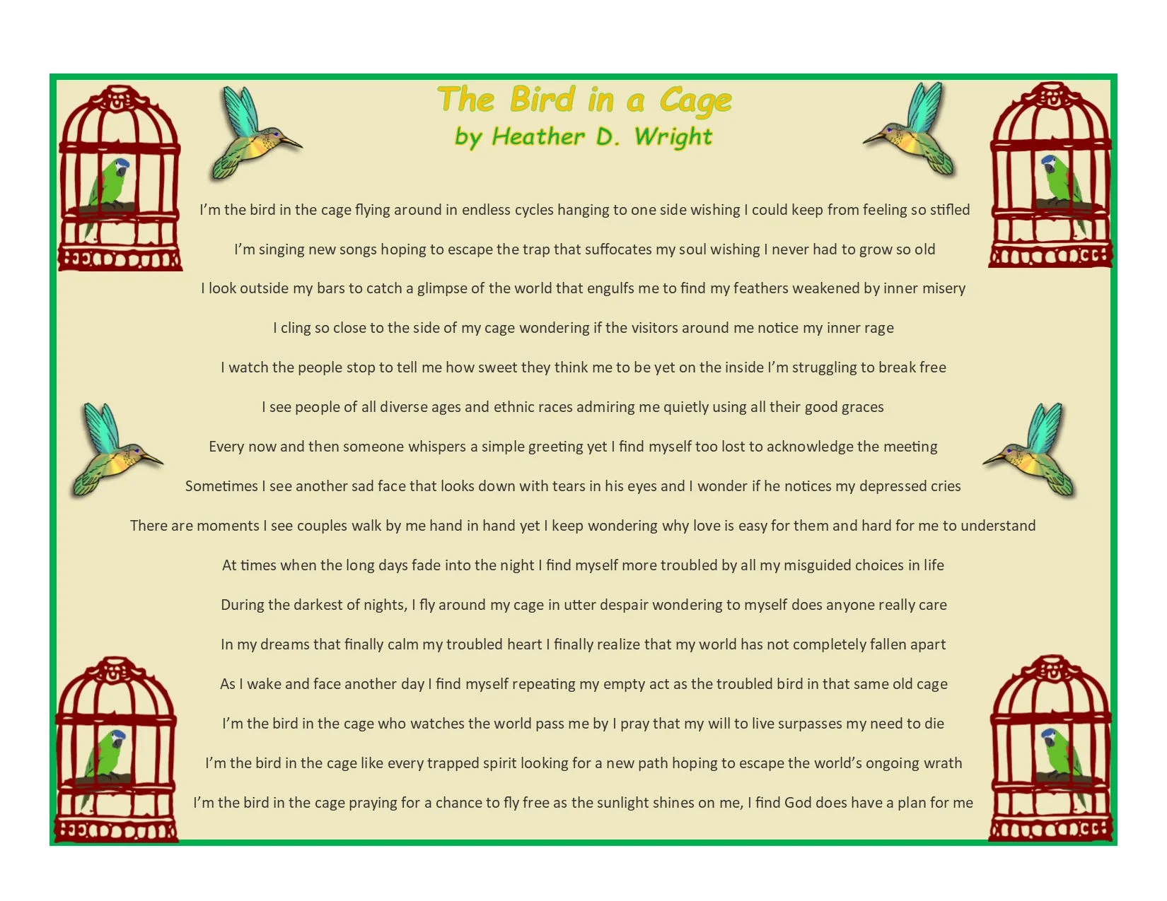 The Bird in a Cage Printable Digital Download Etsy