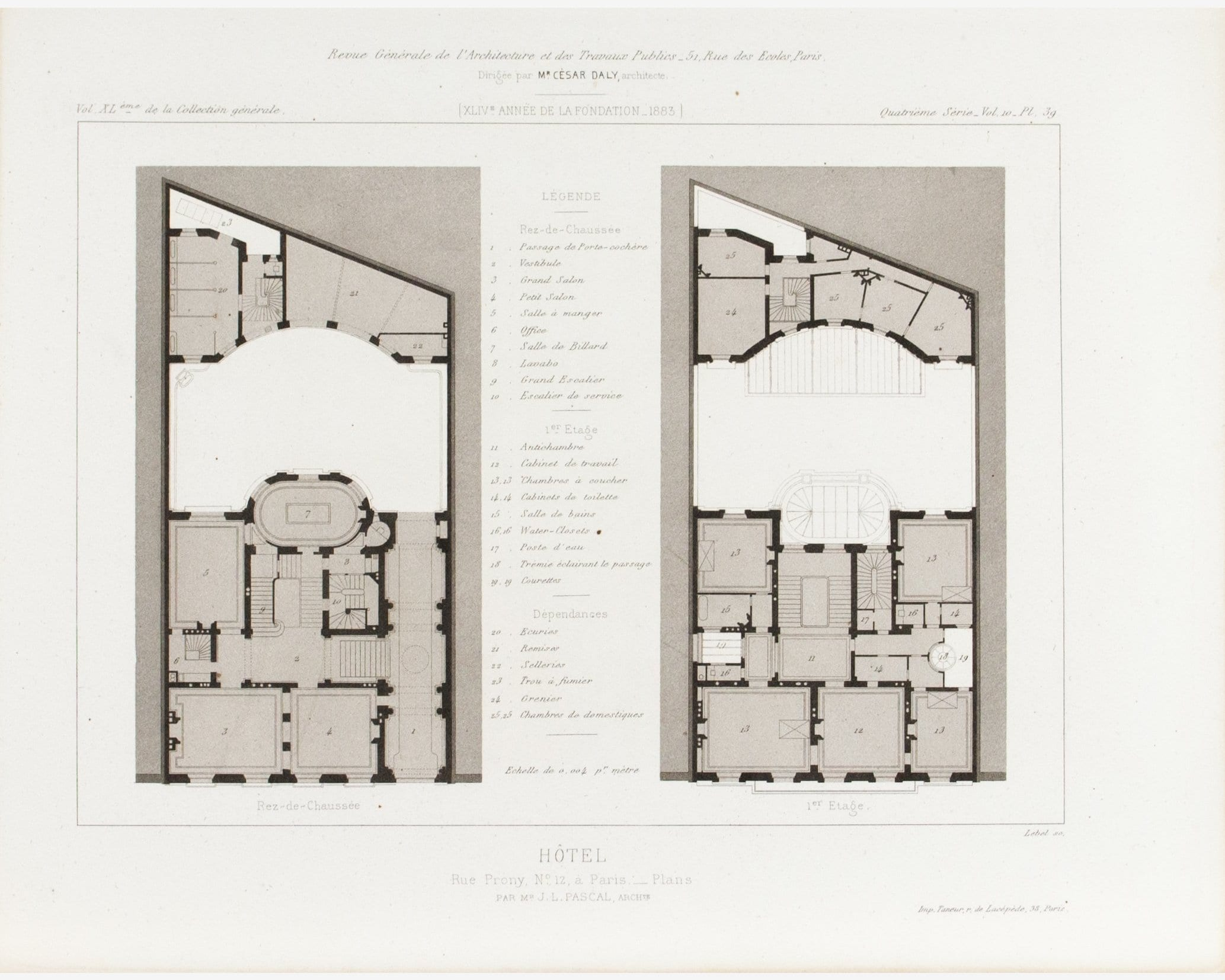 Plan Chambre Hotel Hotel De Prony Buildings Plan 1883 Architecture Print