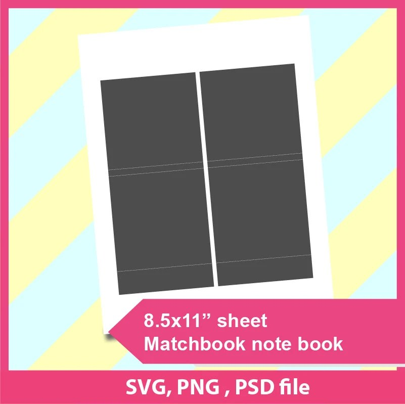 Instant Download matchbook notebook Template Microsoft word Etsy