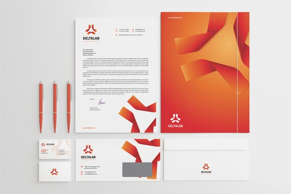 Corporate Stationery Design Template Business Card Etsy