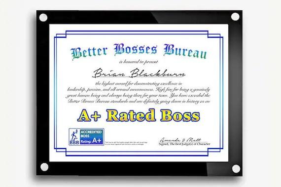 Funny Bosses Day Gift Best Boss Award Certificate Boss\u0027s Etsy