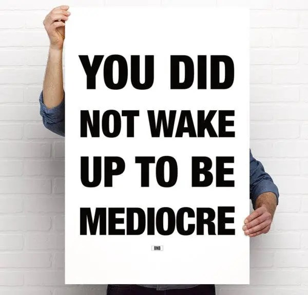 Mediocre Print Office Decor Motivational Poster Cool Print Etsy