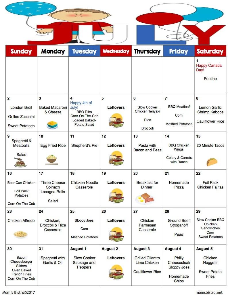July Meal Plan July Menu Plan Weekly Grocery List w/ Etsy
