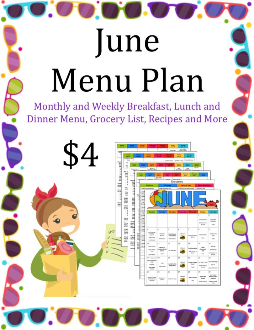 Monthly and Weekly Breakfast Lunch and Dinner Menu Grocery Etsy