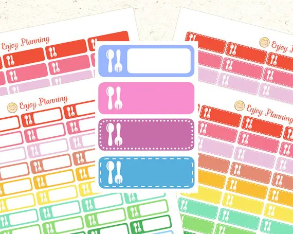 Meal Planning Stickers Printable Meal Planner Erin Condren Etsy