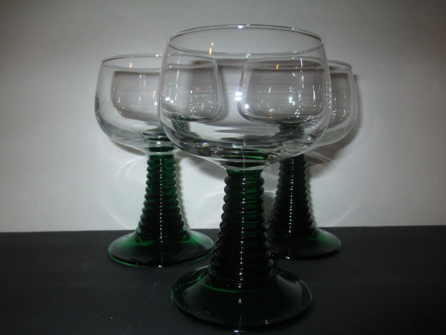 Luminarc Glass French Luminarc Glasses Green Coil Stem Green Coil Stem Glasses French Luminarc Glasses Vtg Luminarc Glasses