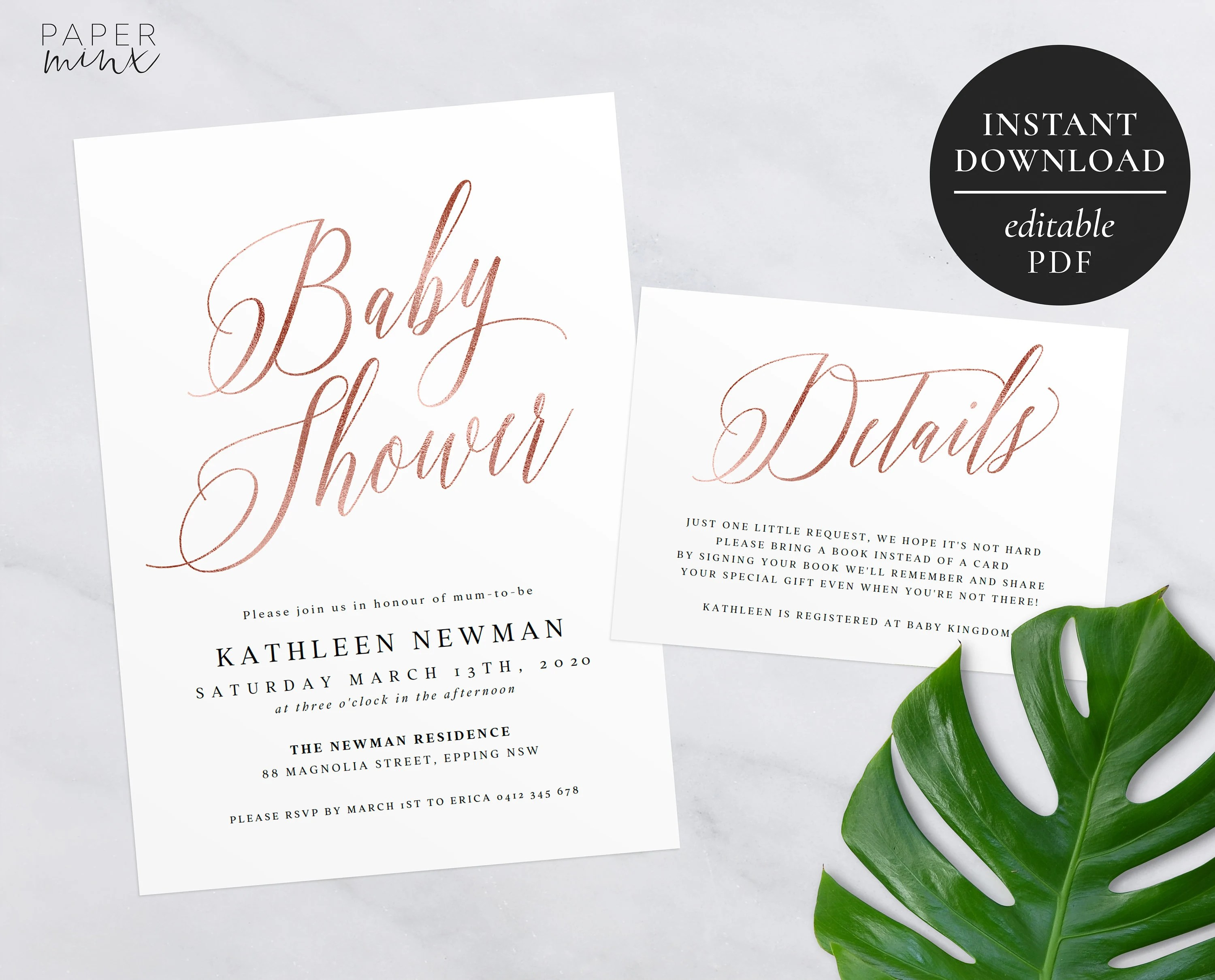 Rose Gold Baby Shower Invitation Editable Template Printable