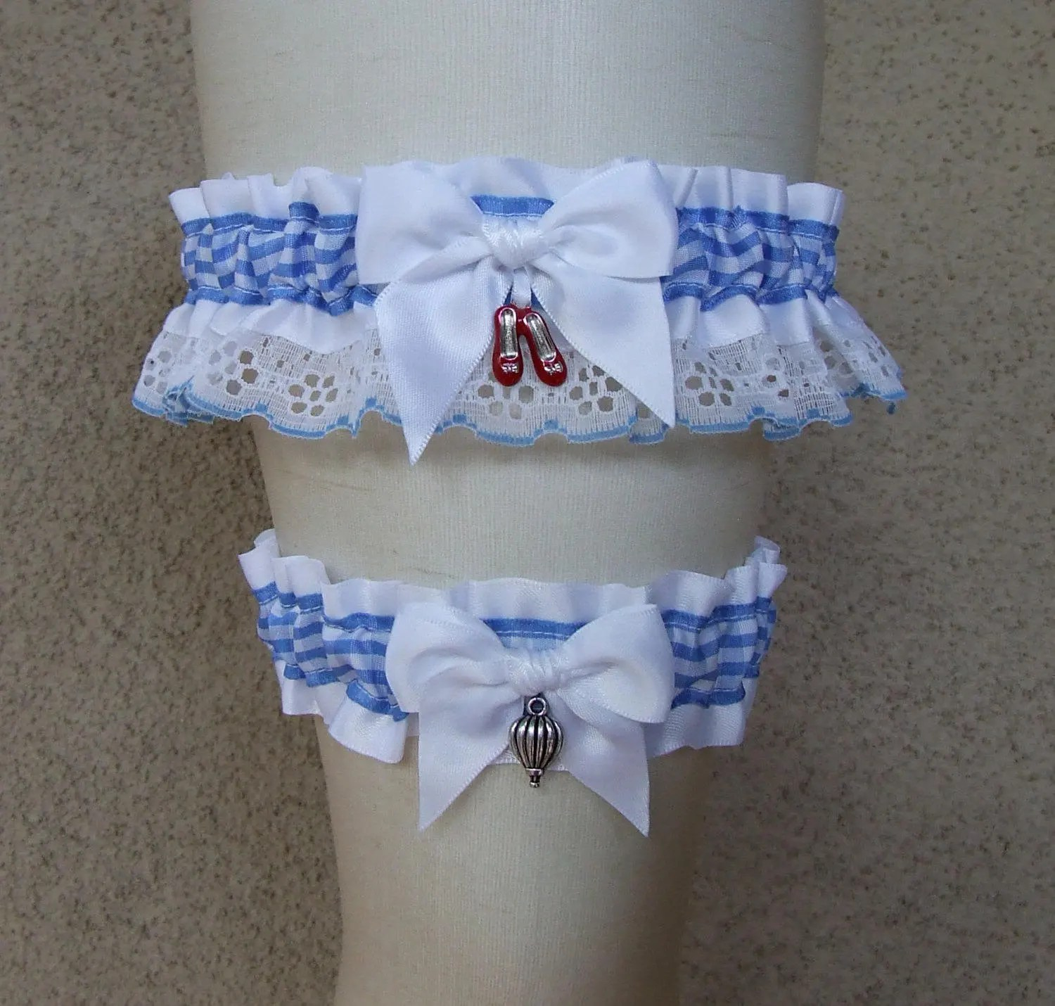 Lionetto Mobili Wizard Of Oz Garter Set Something Blue Gingham Ruby Slippers Dorothy Scarecrow Cowardly Lion Toto Fairy Tale Fairytale Bridal Wedding Prom
