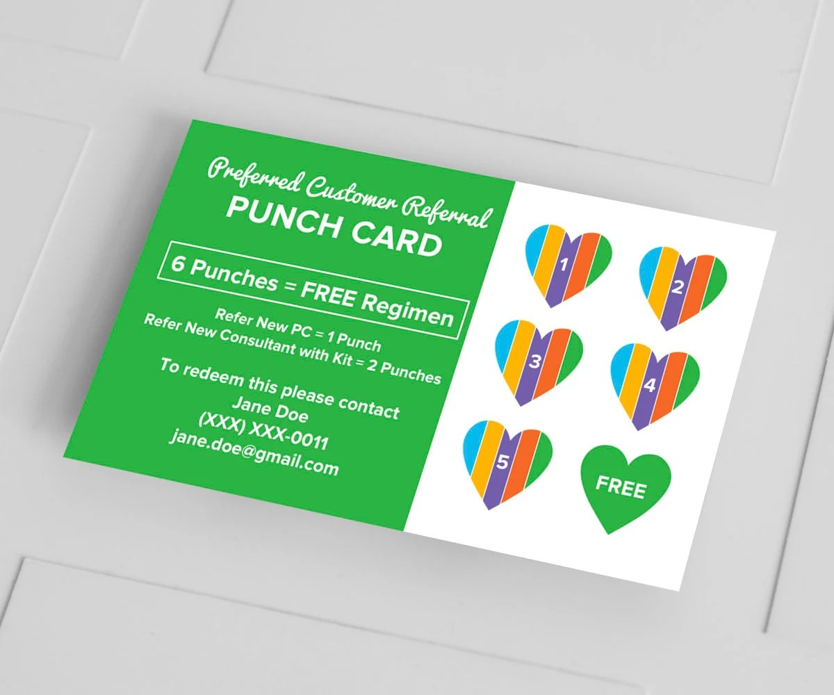 Rodan and Fields Business Cards PC Referral Punch Card Etsy