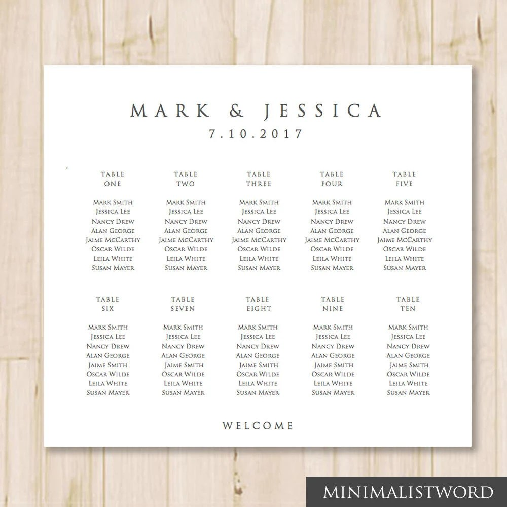 10 Tables Wedding Seating Chart Template Seat Chart Etsy