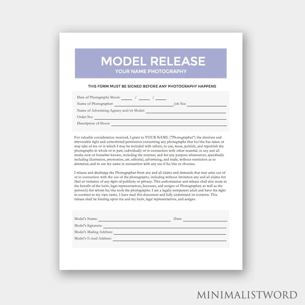 Model Release Form Photography Template for Photographers Etsy