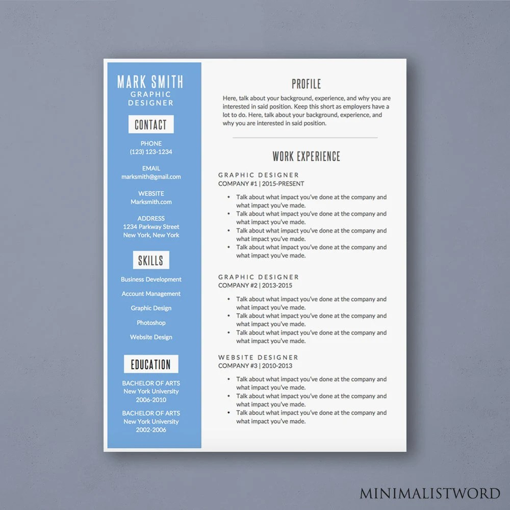 Word Resume Template with Blue Sidebar Modern Resume Etsy
