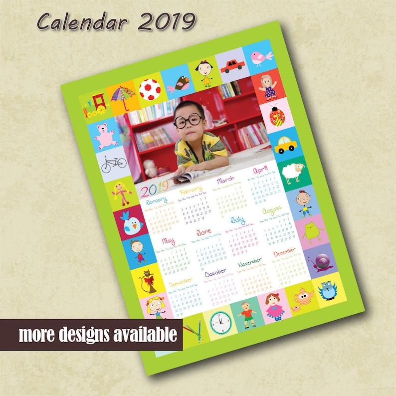 2019 Custom Photo Calendar Children Preschool Calendar Etsy