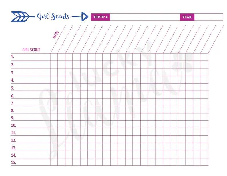 Printable Girl Scout Attendance Sheet Etsy