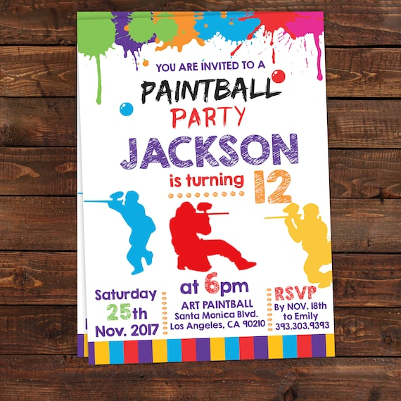 Printable Paintball Party Invitations - Paintball Invitation