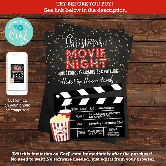 Christmas Movie Night Invitation Template Pajama christmas party