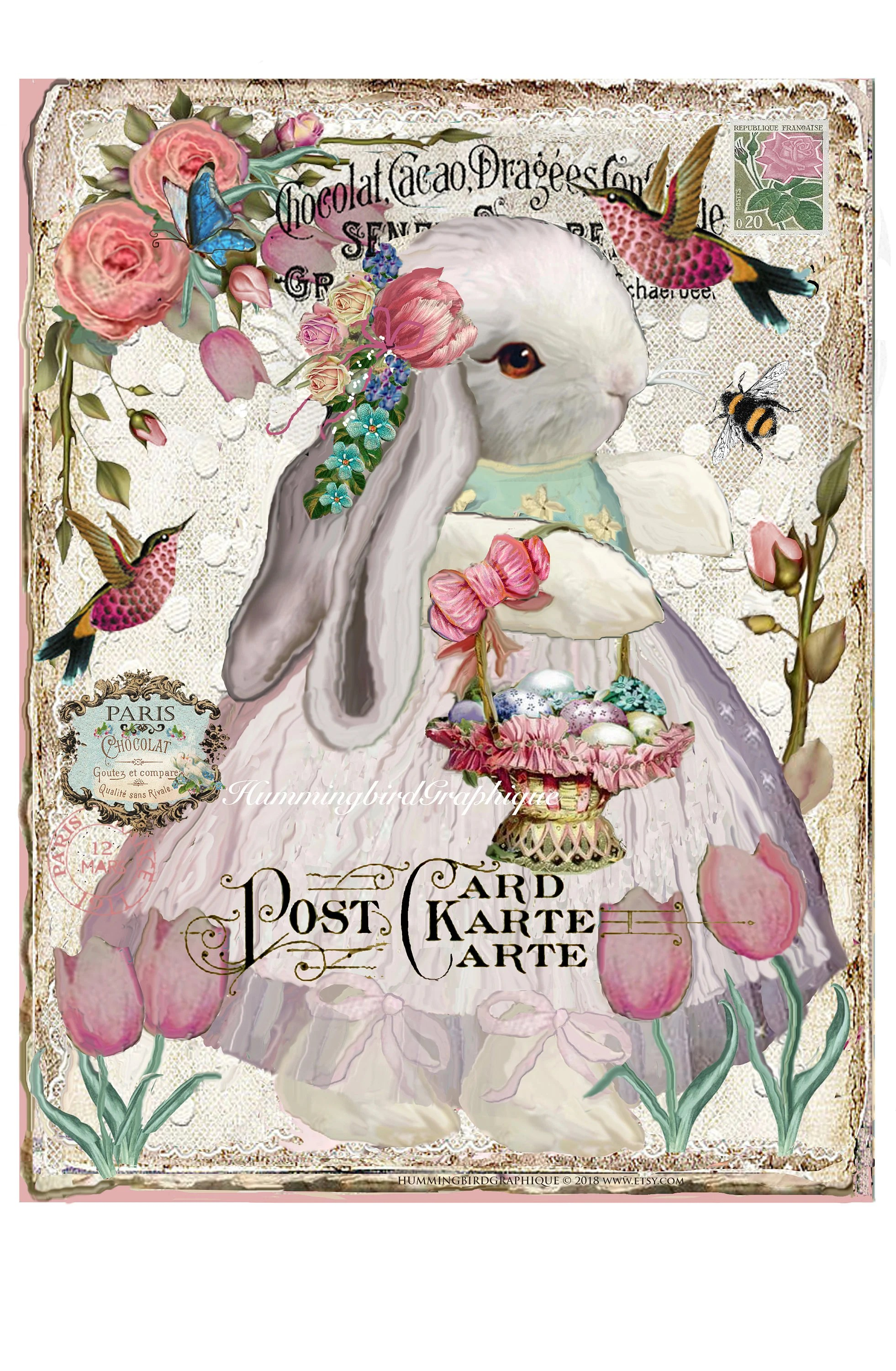 Arte France Journal Easter Bunny With Egg Basket Tulip Garden Large Image Instant Download French Shabby Chic Transfer Fabric Pillow Journal Png Pdf Jpg