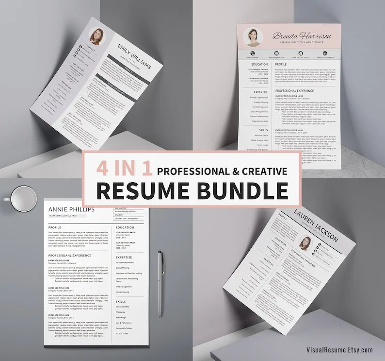 2019 Resume CV Bundle Digital Word Resume Bundle Fresh Etsy