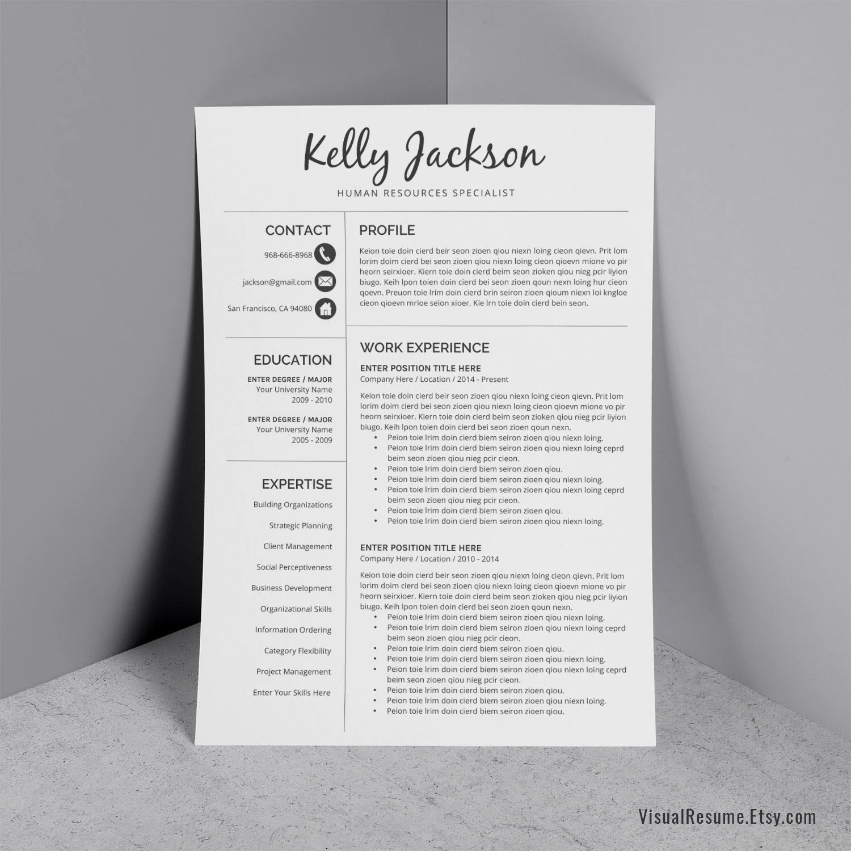 2019 Professional Resume CV Resume Cover Letter Creative Etsy