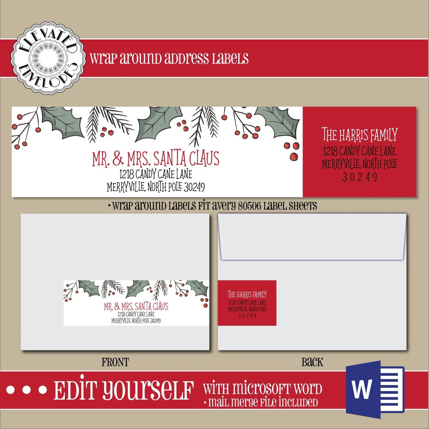 EDITABLE Christmas ADDRESS LABEL TemplateWrap Around Label Etsy