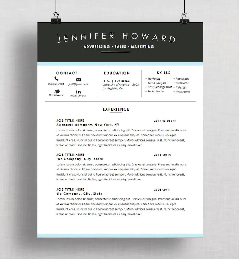 Creative Resume Template CV Cover Letter Mac or PC Etsy