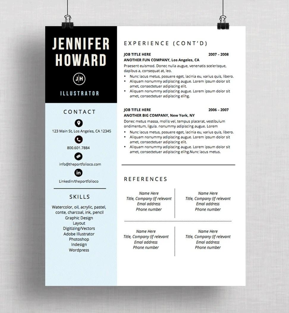 Resume Template CV Template Cover Letter Modern Resume Etsy