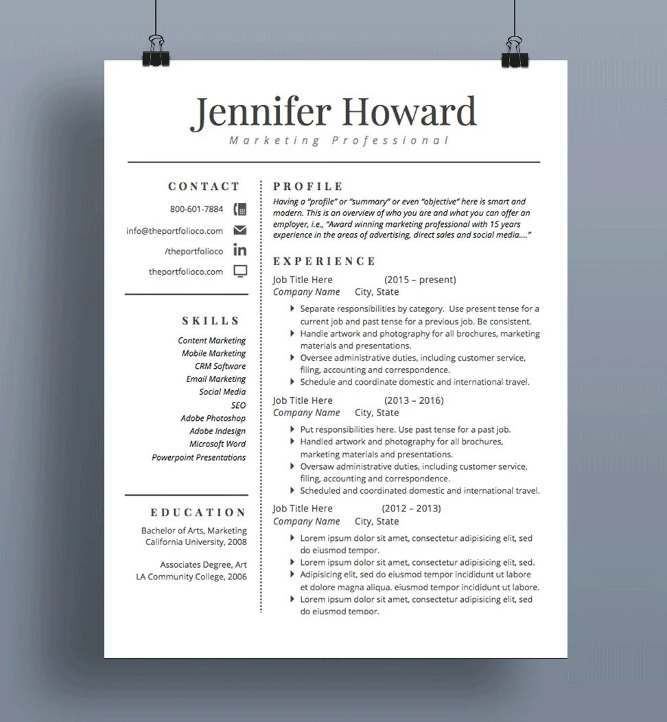 Professional Resume Template CV and Cover Letter Modern Etsy