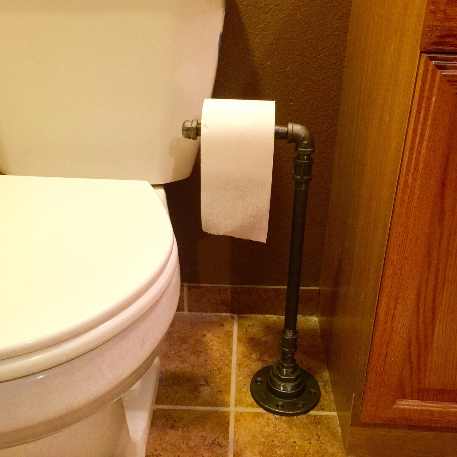 Floor Toilet Paper Stand Toilet Paper Holder Made Out Of Black Pipe Free Standing