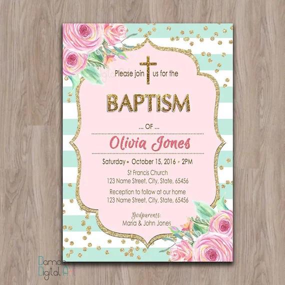 Baptism invitation girl printable girl baptism invitation Etsy