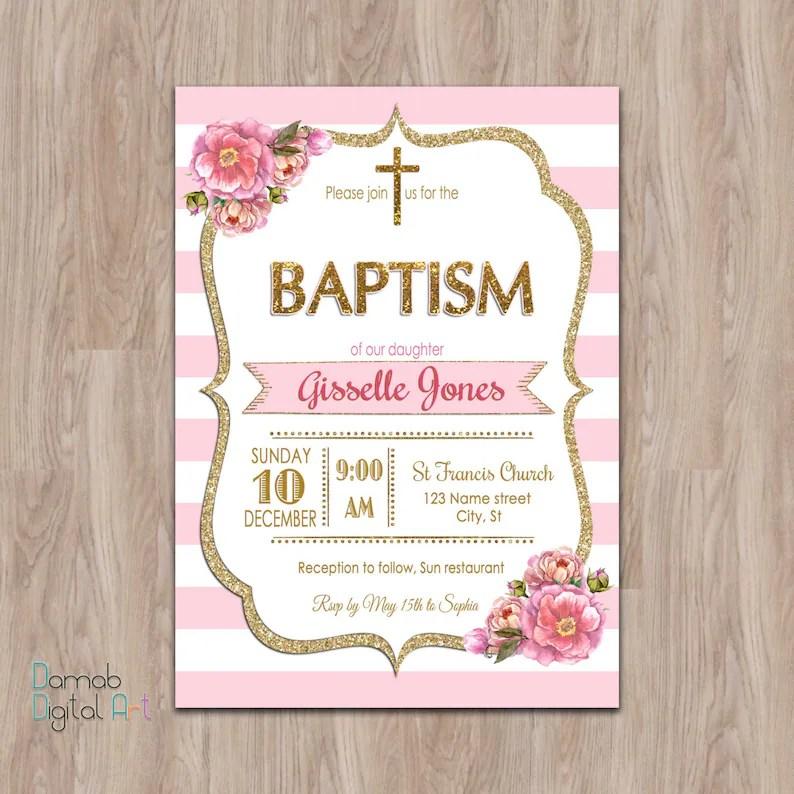 Pink and gold baptism invitation Baptism Invitation Girl Etsy