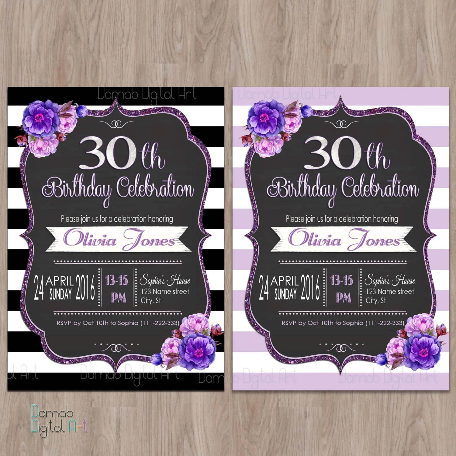 Purple birthday invitation 30th 40th 50th 60th 18th birthday Etsy