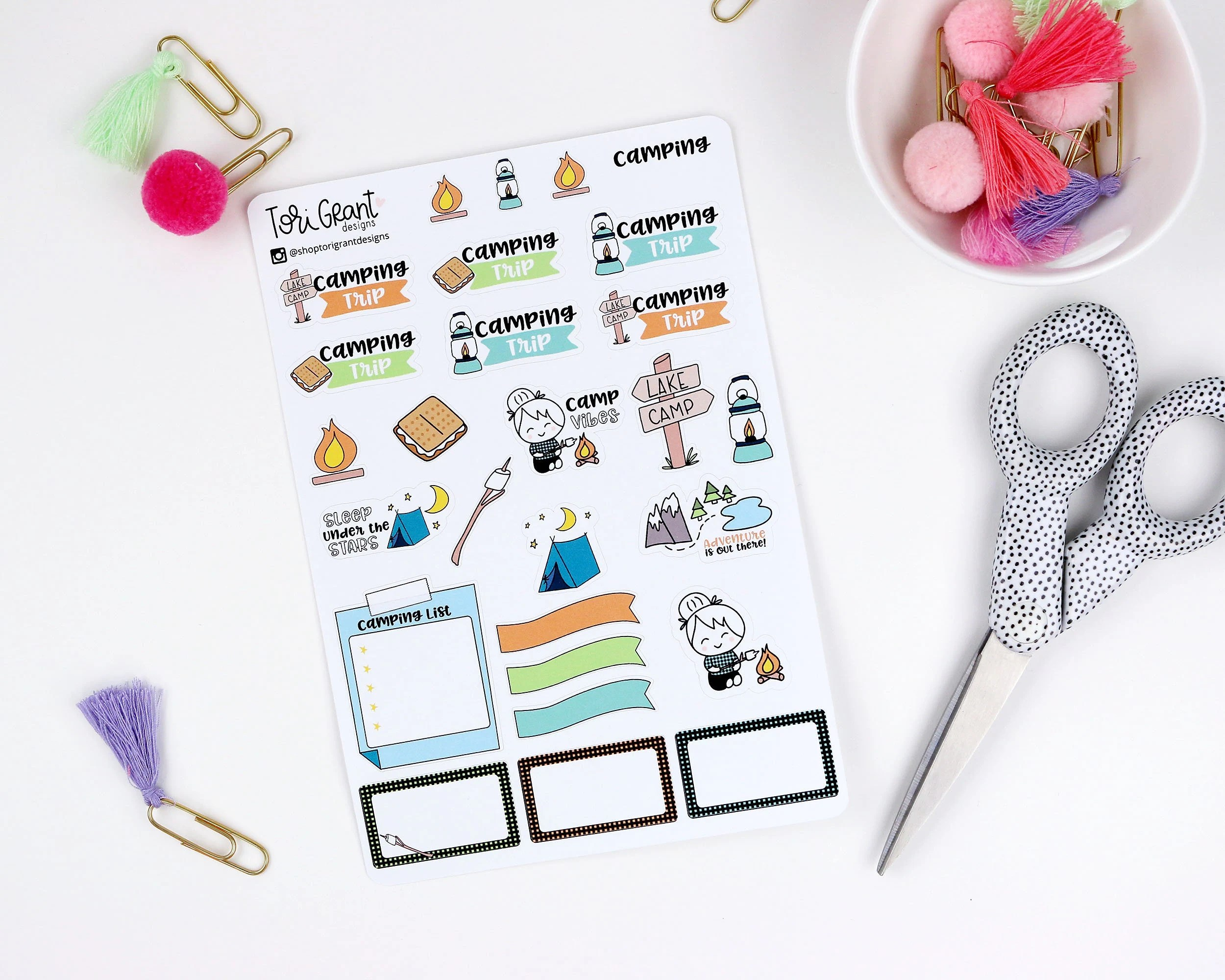 Camping Trip Planner Stickers Etsy