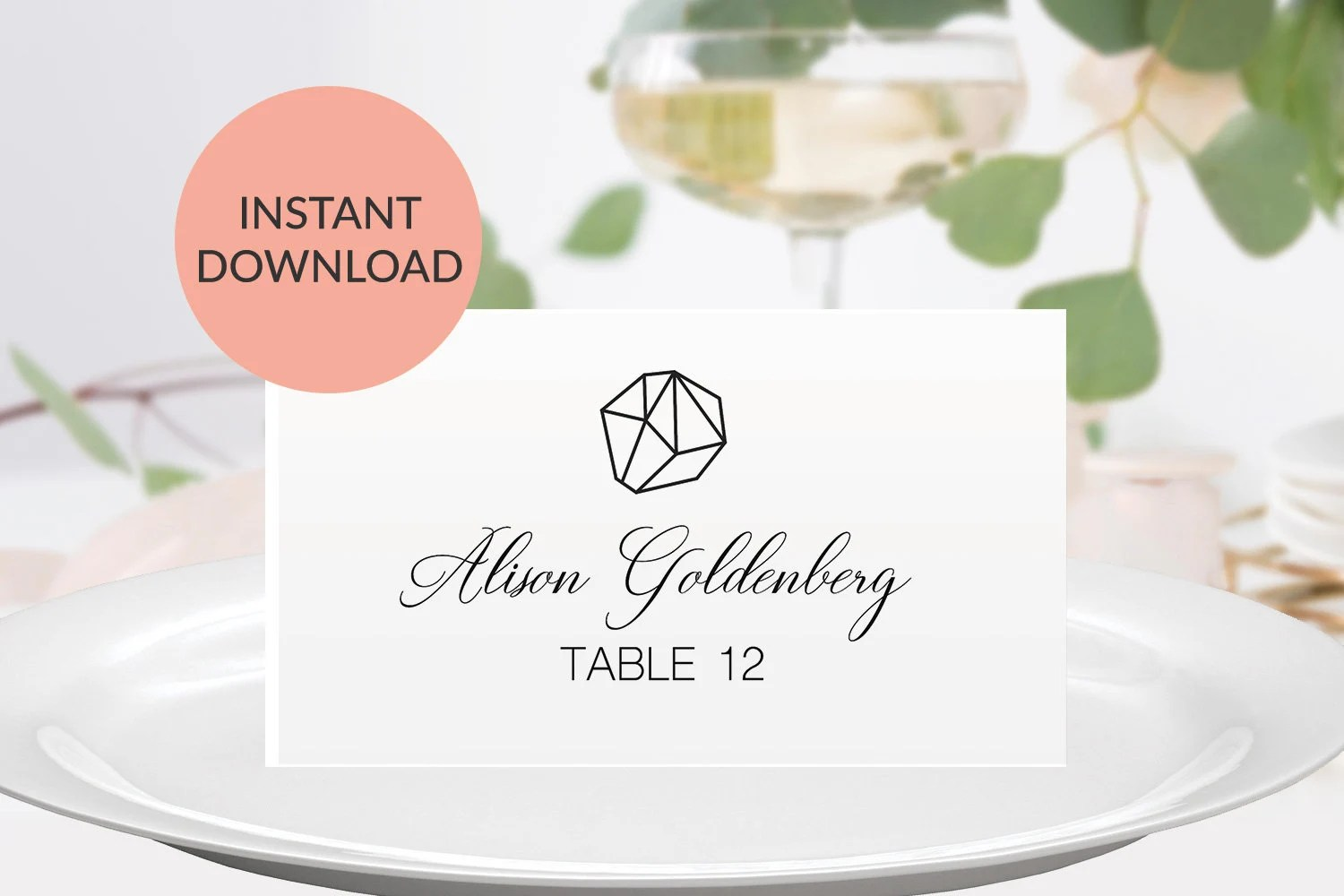 Geometric Wedding Place Cards Printable Wedding Place Cards Etsy