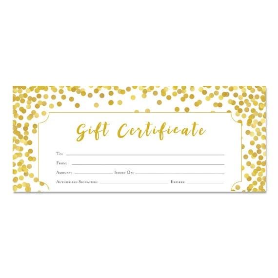 Glitter oro certificado de regalo certificado regalo Etsy