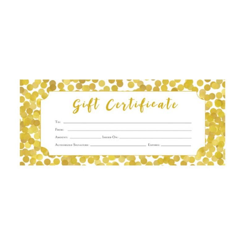 Glitter oro confeti certificado de regalo Premade Etsy