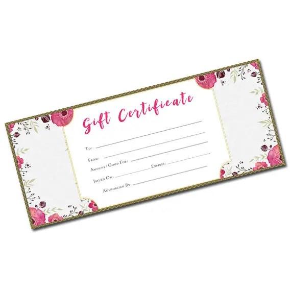 Beautiful Gift Certificate, Flower Pattern, blank gift certificate - Printable Blank Gift Certificates