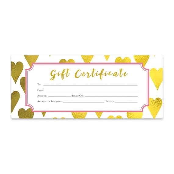 Gold Heart, Heart, Gold Foil, Gift Certificate, Download, Premade - gift certificate download